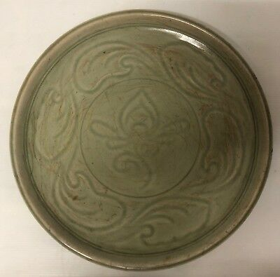 Antique Large Sukhothai  Celadon Flower  Charger Bowl  Plate Longquan  Style