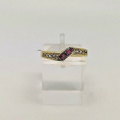 Lovely 14ct Gold Ladies Ruby & Cubic Dress Ring.  Goldmine Jewellers.