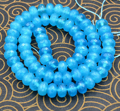 "Blue 5x8mm Brazilian Aquamarine Gems Rondelle Loose Beads 15"" AAA+"