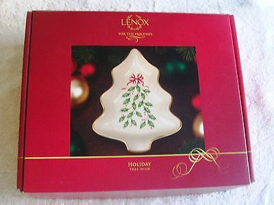 Lenox Porcelain Holiday, Holly Berry Christmas Tree Candy Dish New In Box, Nice