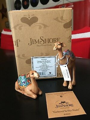 Nib New Jim Shore 4041089 Gathered In His Name Set/2 Mini Camels / Nativity