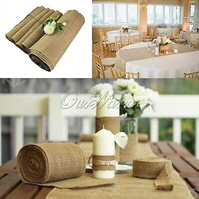 10M Roll Fabric Upholstery Hessian Burlap Cloth Natural Jute Craft Wedding Decor