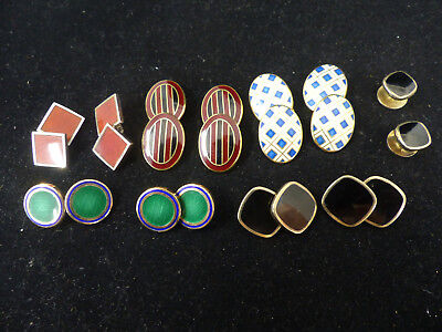 Lot Of 6 Pairs Of Antique Art Deco Guilloche Enamel Sterling Cufflinks