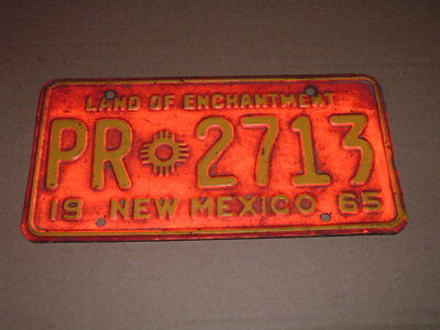 1965 New Mexico License Plate PR 2713 Pro Rate Truck Tag