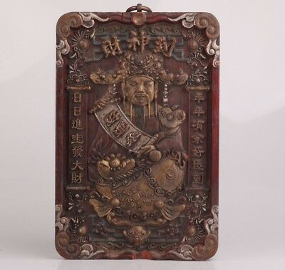 Old Antique Collection Handmade Deep Carving God Of Wealth Statue Painting Gift