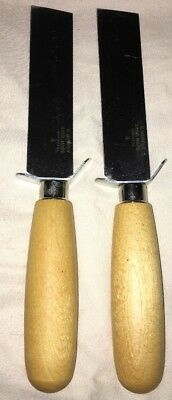 2 NEW R. Murphy AYERS, Mass USA #4 WOOD HANDLE W/ Guard SQUARE POINT SHOE KNIFE