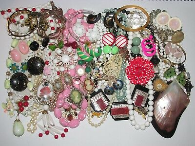 61 Piece Lot Of Vintage Costume Jewelry, Earrings, Pins, Necklaces, Coro, Etc..