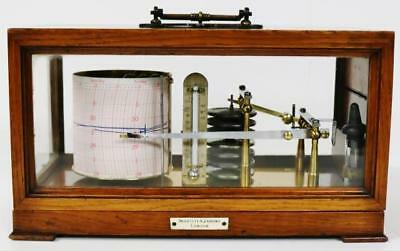 Superb Antique Negretti & Zambra English Solid Oak & Glass 7 Chamber Barograph