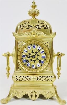 Antique French 8 Day Bell Strike Pierced Bronze Ormolu Gothic Cube Mantle Clock