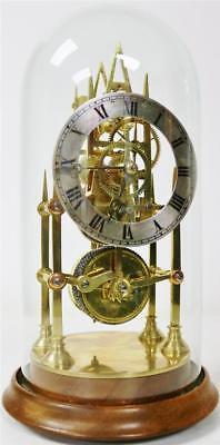 Rare Small Antique English 8 Day Single Fusee Skeleton Clock Under Glass Dome