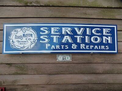 "New! Early Style Ford 1900's Early Service Station 1'x46"" Metal Sign-Garage Art"