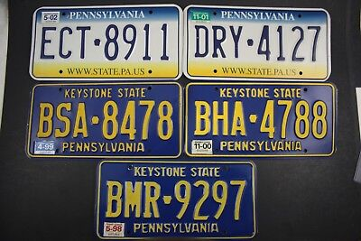 Original Vintage PENNSYLVANIA LICENSE PLATES 5x LOT KEYSTONE STATE