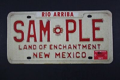 Original Vintage 1978 NEW MEXICO SAMPLE LICENSE PLATE LAND OF ENCHANTMENT
