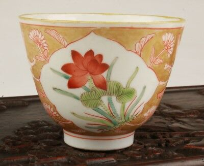 Vintage Chinese Porcelain TeaBowl Decorated Hand-Painted Flowers Christmas Gift