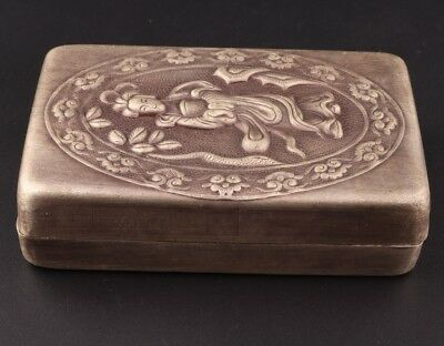 Republican Period Chinese Tibet Silver Seal Box Seal Decoration Relief Bettle