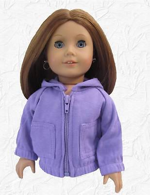 Doll Clothes Hoodie Lavender Zip fits 18 inch American Girl or Boy