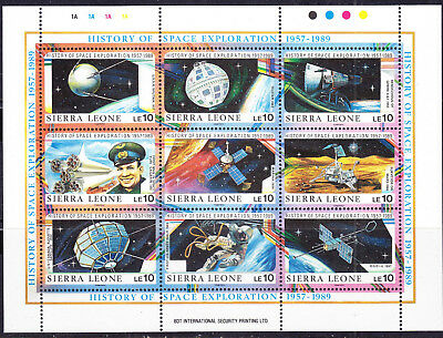 Sierra Leone postage stamps -1989 'Space' Minisheet Mint Hinged