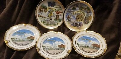 Lot Of 6 Small Collectible Souvenir Plates Maine Illinois New Hampshire