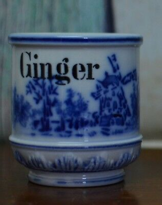 "Antique Flow Blue Spice Jar Ginger with Wind Mill  NO LID 3"" High"