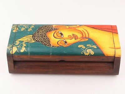 Vintage Chinese Wood Jewelry Box Rouge Box Painted Decoration Buddhist Supplies