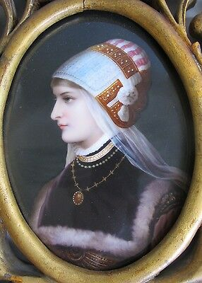 Large SIGNED Antique GERMAN ENAMEL on Porcelain Portrait Painting  c.1880's