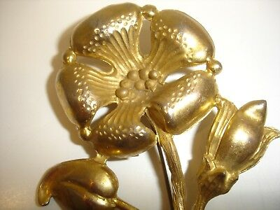 Antique Art Nouveau Large Flower Gilt Brass Tin Pin Brooch 3 3/4""