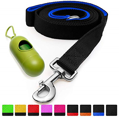 [Strong] Dog Leash with Bonus Free Waste Bag Dispenser – Thick Padded Dual Poop