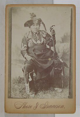 1880s NATIVE AMERICAN SAC FOX INDIAN CHIEF NISH-CAY-COB CABINET CARD PHOTOGRAPH