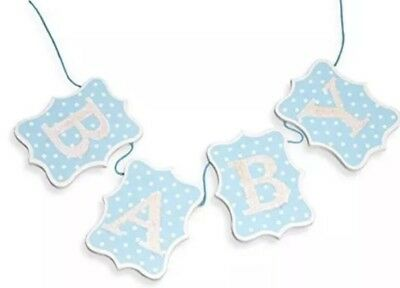 New Baby Blue & White Dot Glittered Wooden Baby Bunting Banner Baby Boy