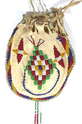 ca1900 NATIVE AMERICAN APACHE INDIAN BEAD DECORATED HIDE POUCH / MEDICINE BAG #2