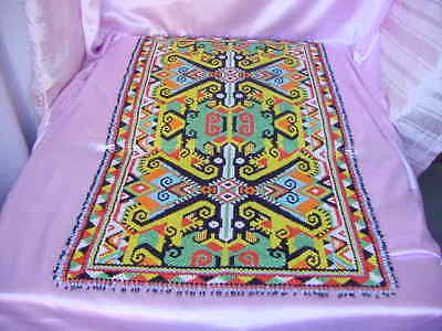 "BORNEO KALIMANTAN DAYAK KENYAH MANIK TRIBAL ART BIG 36"" x 21"" BEADED WORK RUNNER"