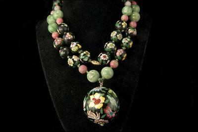 Large Old Chinese Green Jade Cloisonne Flower 14K Gold Necklace D83-01