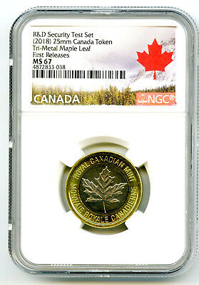 2018 Canada Maple Leaf Tri-Metal Ngc Ms67 Test Token First Releases Fm R & D Set
