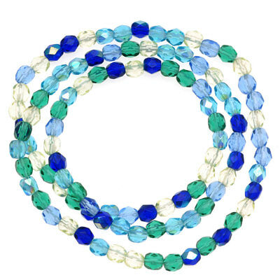 Czech Fire Polished Glass Beads 4mm Round 'Lagoon Blue Green Mix' (100 PIeces)