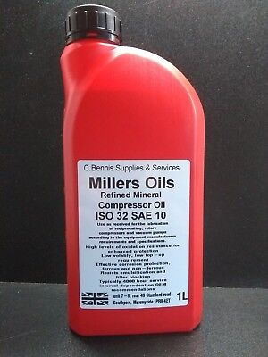 1L Millair Piston / Rotary Air Compressor / Vacuum Pump Oil ISO 32 SAE 10 / 15