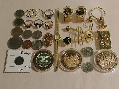 Coins Rings Rhinestones Jewelry Silver + Gold Vintage Collectors Junk drawer Lot