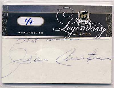 JEAN CHRETIEN 2011-12 The Cup Legendary Cuts CUT AUTO 1/1 CANADA PRIME MINISTER*