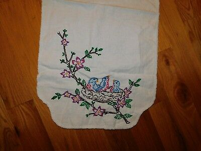 Baby Blue Birds in Nest Table Runner Vintage Hand Embroidered Handmade