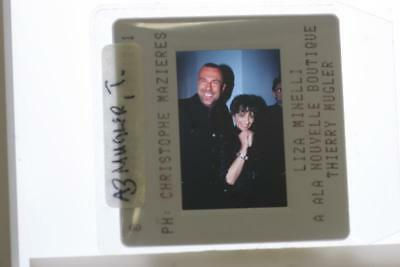 35mm Slide of Thierry Mugler and Liza Minnelli smiling.