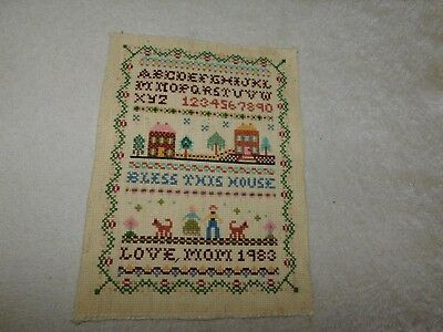 Bless This House Cross Stitch Sampler COMPLETED Handmade w/ Dogs