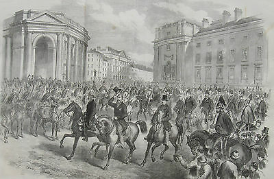 1869 Large Antique Engraving - Dublin Inauguration Celebrations for Earl Spencer