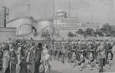"1890 Large Engraving - LEAVING CAIRO FOR INDIA - ""King's Own Scottish Borderers"""