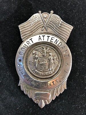 Antique Obsolete Court Attendant Albany County NY New York badge 1920s 1930s