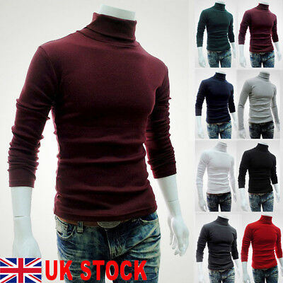 Uk Stock Men Roll Neck Long Sleeve Polyester Top High&Turtle Neck Basic T Shirts