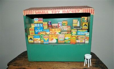 Vintage 1950's Tin SMALL FRY MARKET Grocery Store Toy & Groceries & Stool
