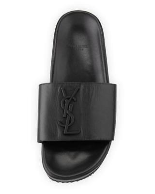 b6dfd9e680fb Yves Saint Laurent Joan YSL Monogram Leather Flat Slides Sandals Shoes Black