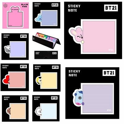 Kpop BTS BT21 Blackpink Cute Sticky Notes Memo Pad Stickers Bookmark Stationery