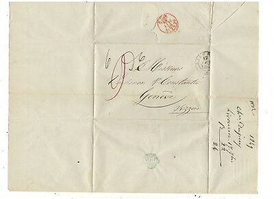 1849 Stampless Folded Letter, Livorno Italy To Switzerland