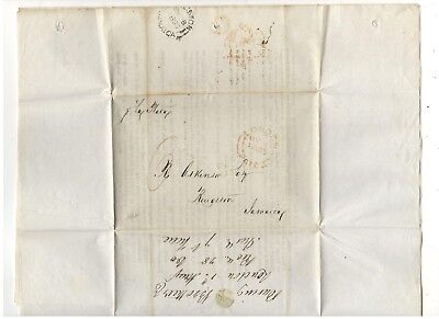 1855 Stampless Folded Letter, To Kingston Jamaica, Ref: Wheat