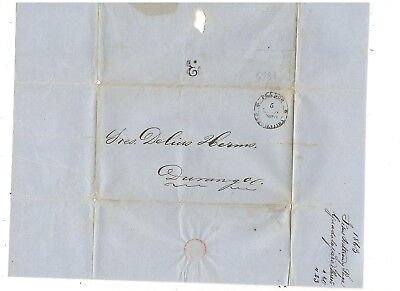 1863 Stampless Folded Cover, Guadalajara To Durango Mexico, Black Cds